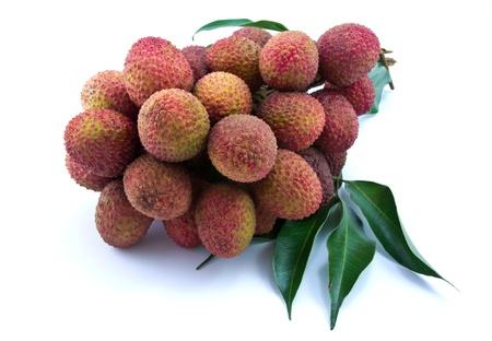 lichi: Fresh lychees isolated on white Stock Photo