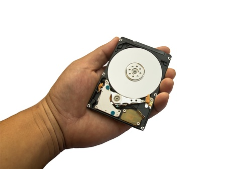 Hard disk drive held in a hand