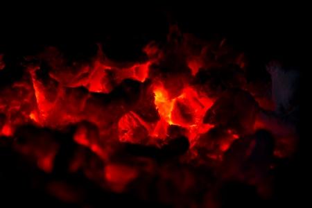 hot charcoal burning Stock Photo