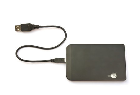 external hard disk drive: Portable external hard disk drive with USB cable on white background