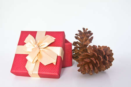 Christmas gift box and pine cones over white background Stock Photo