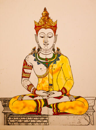 Buddha image painting on old wall in temple.