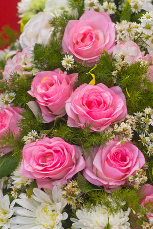 Pink fabric roses,Fake textile roses close-up floral background