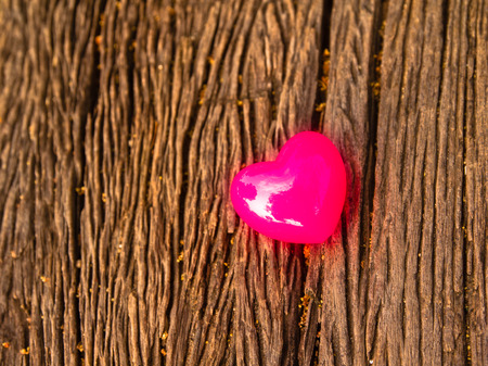 valentines day background with hearts on wooden Stock Photo