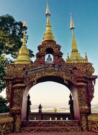 View point on pagoda in temple