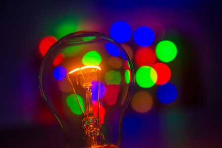 light bulb in bokeh background Stock Photo