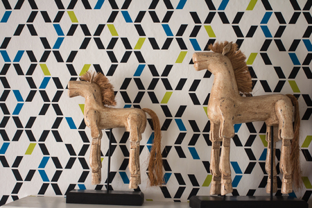 Old wooden horse decoration on the wall