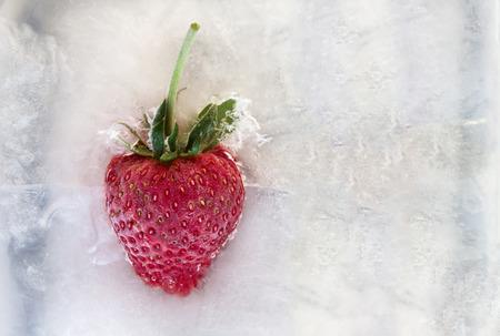 Ripe strawberry frozen in ice
