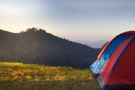 Camping in the mountain with morning light