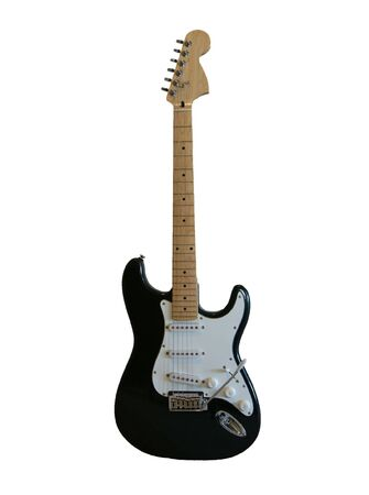 strat: A black electric guitar on a white background