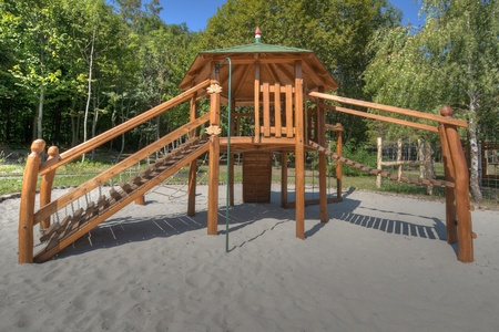 Wooden Playground toys with steps and chute