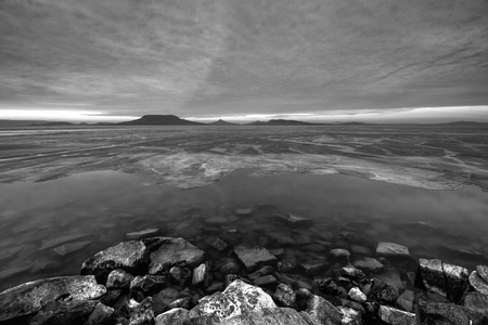 Landscape with the hungarian lake of Balaton in winter photo