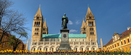 Hungarian chathedral with four tower and flowers in PÃ,©,cs