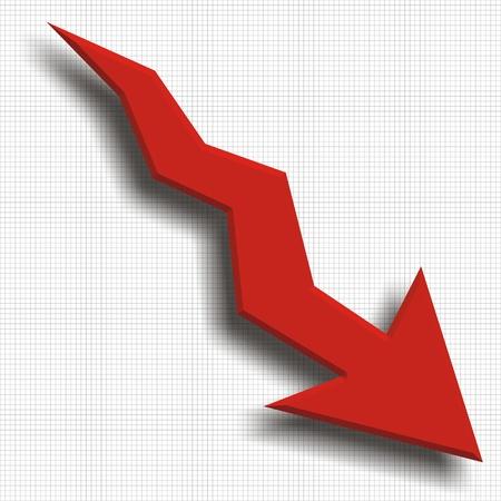 stock predictions: Arrow cadere con la recessione sfondo Economy grafico mostra Archivio Fotografico