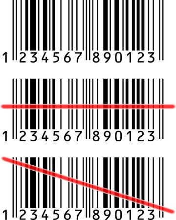 upcode: 3 Barcode with or without red light-line Stock Photo