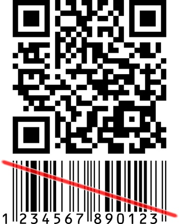upcode: Barcode is over, Qrcode is the future Stock Photo