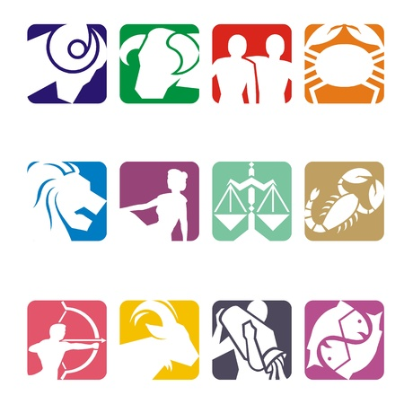 zodiac signs: Horoscope symbols in 2D graphic - astrology zodiac illustration Stock Photo