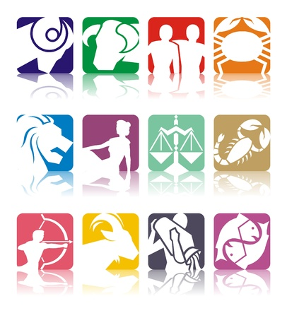 tribal aquarius: Horoscope symbols in 2D graphic - astrology zodiac illustration Stock Photo