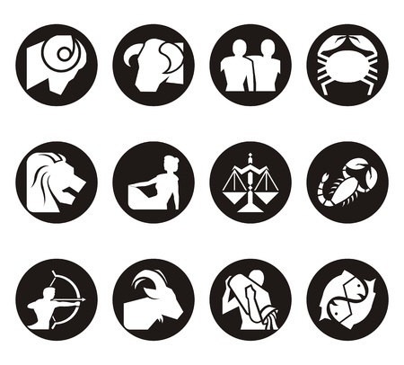 zodiac illustration: Horoscope symbols in 2D graphic - astrology zodiac illustration Stock Photo