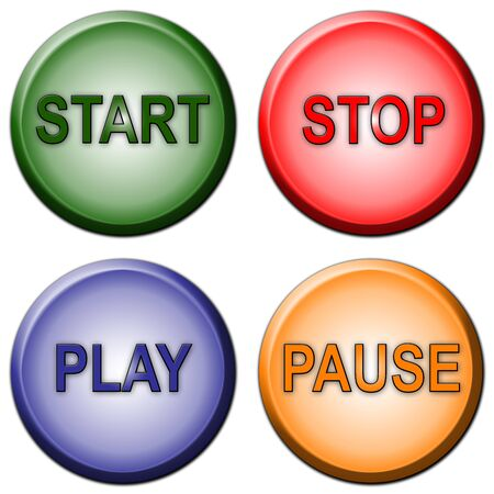 Separated rounded color Start Stop Play Pause Buttons