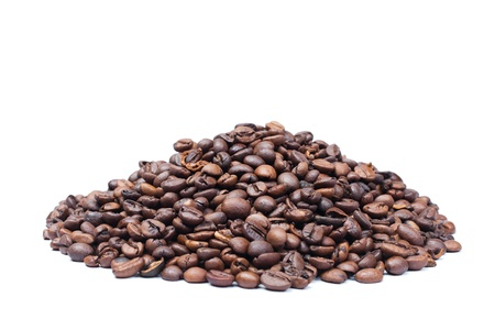 Roasted Coffee beans heap isolated on white background Stock Photo - 11924073