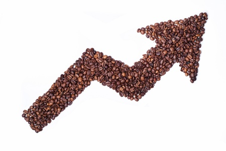 Coffee price is growing - arrow by coffee beans Stock Photo - 11924074