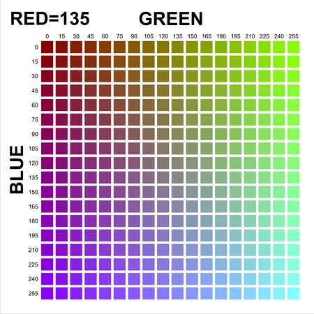 RGB Color table in 15 steps with Red = 135 Stock Photo