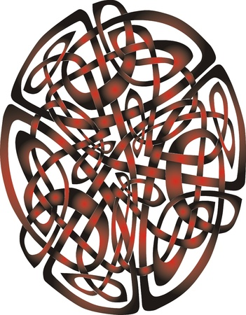 Abstract Celtic patterns with knot designs in a circle photo