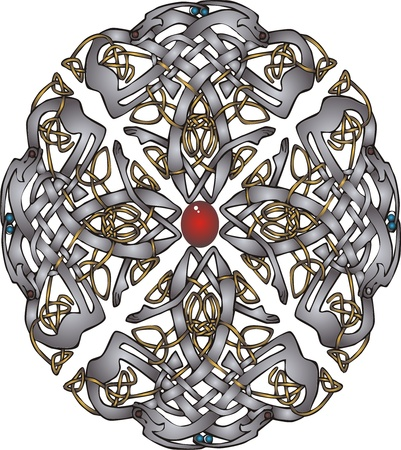 Abstract Celtic patterns with knot designs in a circle