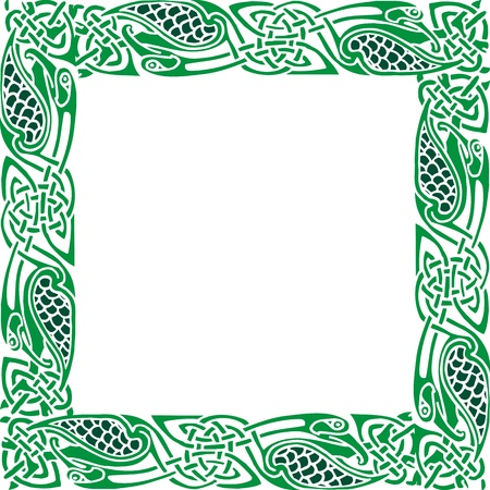 Abstract Celtic patterns with flower designs on the border