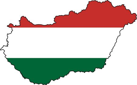Hungarian map with colors of national flag