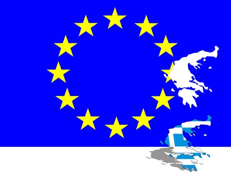 disengagement: Greek map cut out from european flag