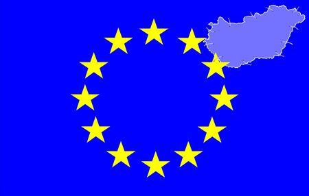 Hungarian map and european flag symbols photo