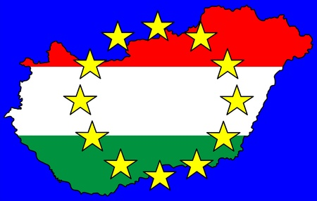 Hungarian map and european flag symbols photo