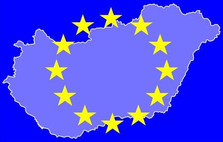 disengagement: Hungarian map and european flag symbols