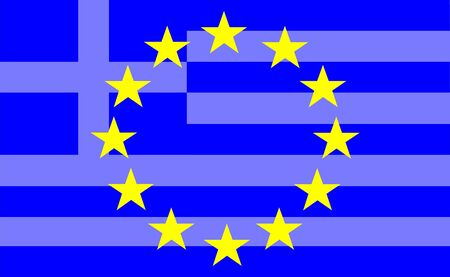 disengagement: Greek crisis in Europe with european and greek symbols Stock Photo