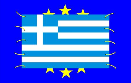 Greek crisis in Europe with european and greek symbols Stock Photo - 12082713
