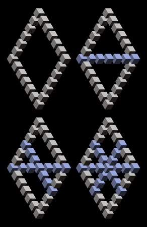 Paradox triangles and cubes in black background Vector
