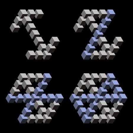 Paradoks: Trójkąty paradoksu i kostki w czarnym tle