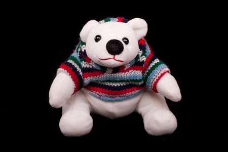 Isolated white polar bear toy with black background photo