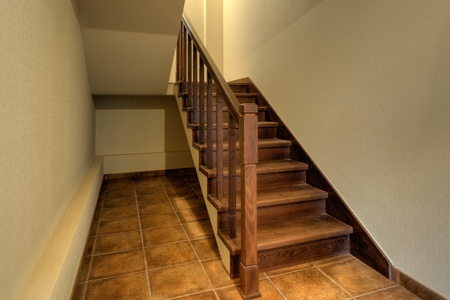 Staircase in a new empty modern home photo