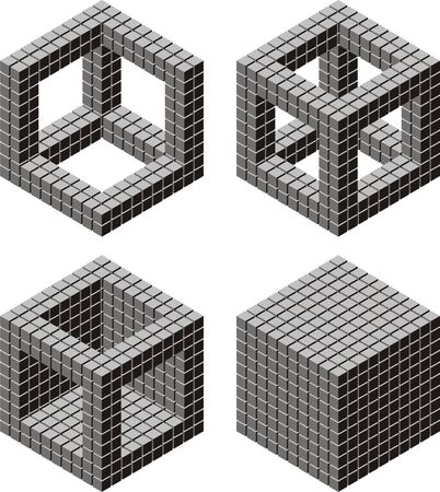 cube puzzle: 10 by 10 by 10 cubes in 4 arrangement
