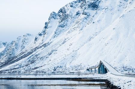 Road and bridge on islands Lofoten in winter Stock Photo - 12304337