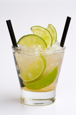 Isolated cocktail  with straw on white background