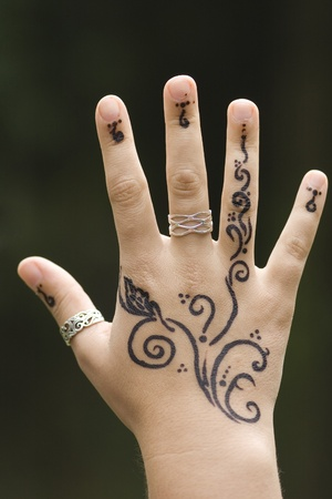 recently: Hand recently painted with Henna Stock Photo