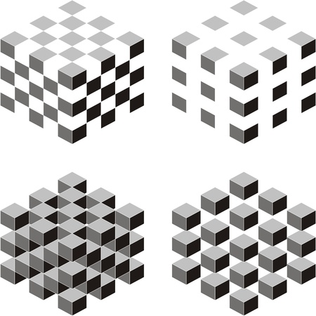 A set of cubic shapes on white isolated background Vector