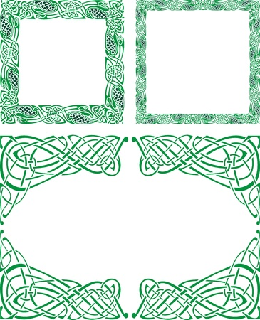 Three Abstract Celtic patterns with flower designs on the border Vector