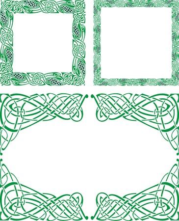 interlace: Tre modelli astratti celtiche con disegni di fiori sul confine