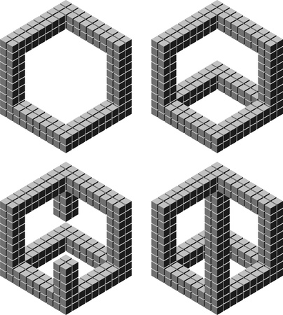 10 by 10 by 10 cubes in 4 arrangement Vector