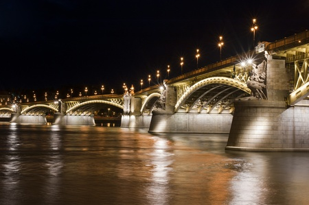 Margaret Bridge by night, in Budapest, Hungary photo